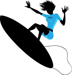 Silhouette of a woman surfing