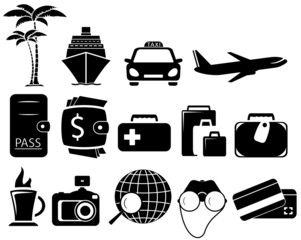set black travel objects