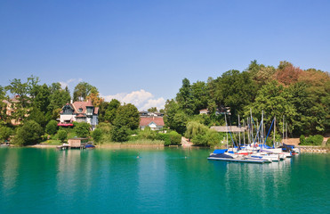 Resort Krumpendorf am Worthersee and Lake Worth . Austria