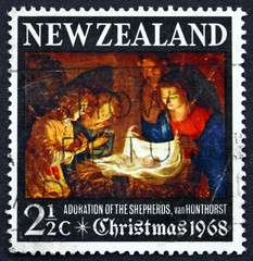 Postage stamp New Zealand 1968 Adoration of the Holy Child