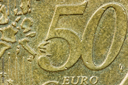 Close up fifty euro cents