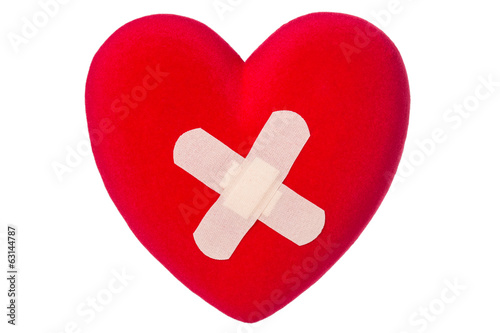 Heart with plaster  isolated