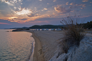 Sunset at campers favourite site in Macedonia, Greece