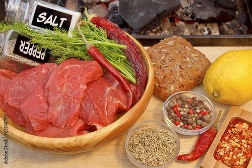 Raw Beef Steaks and Spice near BBQ Grill, XXXL