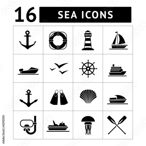 Set icons of sea, beach and travel