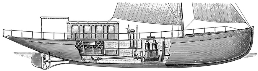 "Motor yacht ""Ellida"". Cross section. Fragment."