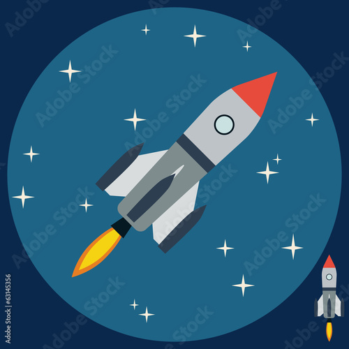 Cartoon rocket flat vector illustration