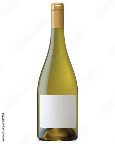 Burgundy wine bottle with blank labels isolated. Vector illustra