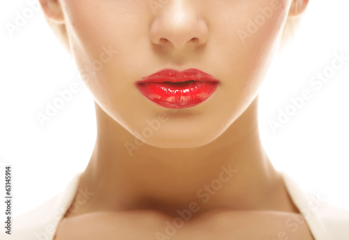 beautiful blond woman with red lipstick