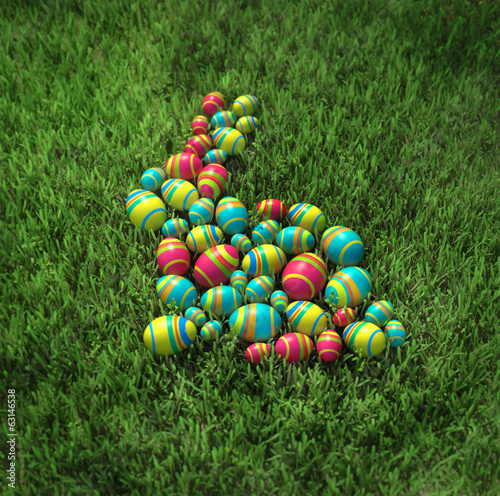 Easter bunny of eggs on the grass