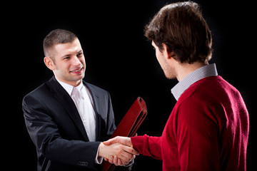 Shaking hands with a client