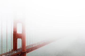 San Francisco Golden Gate Bridge through the mist