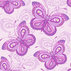 Seamless pattern with butterflies. Colorful background.