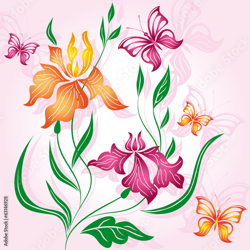 Floral background with flower iris