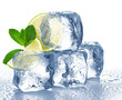 Lime, mint and ice cube isolated - 63147300