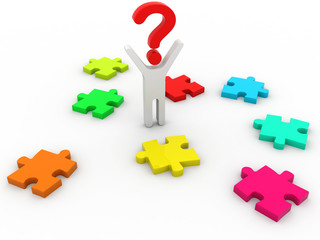 3d multicolored puzzle a big question mark