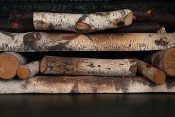 Cut Logs In A Fireplace