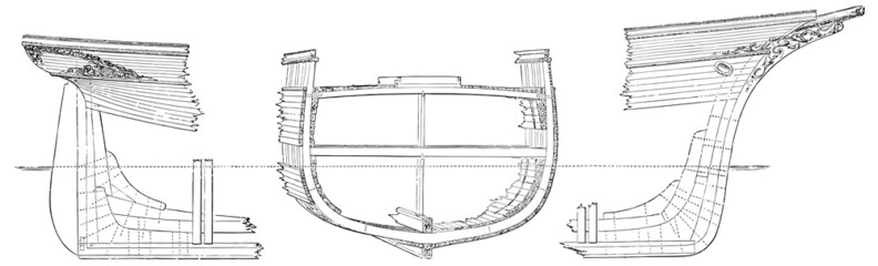 Cross section (geometry) of a wooden ship
