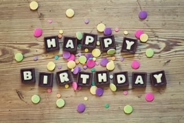 Happy Birthday in chocolate