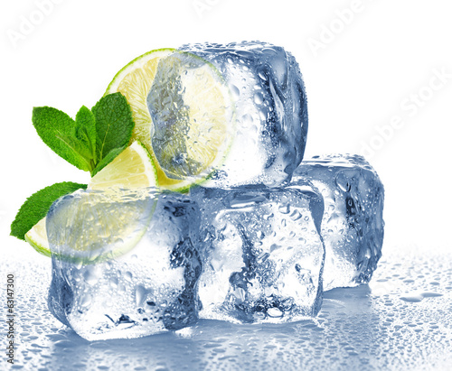 Lime, mint and ice cube isolated
