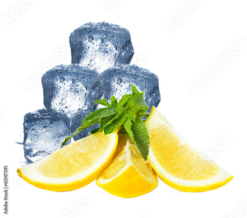Ice, lemon and mint isolated