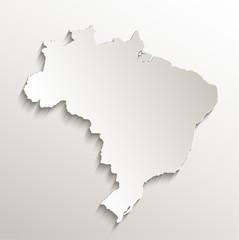 Brazil map card paper 3D natural