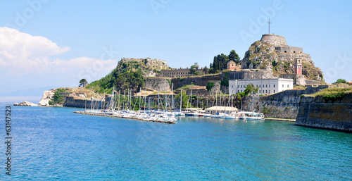 Old fortress and the port in Corfu, Greece, Europe