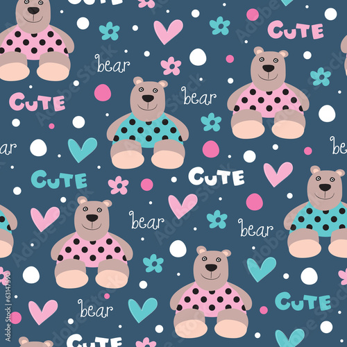 seamless cute and happy bear teddy pattern vector illustration