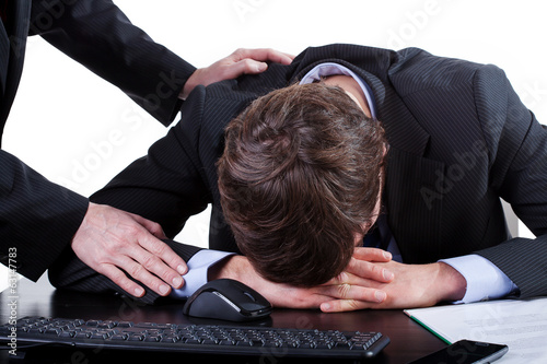 Depressed businessman at work