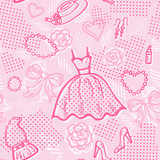 Seamless pattern background with dress and accessories.