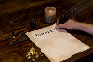 Testament wird nieder geschrieben