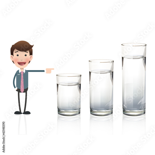 Businessman pointing to water glass
