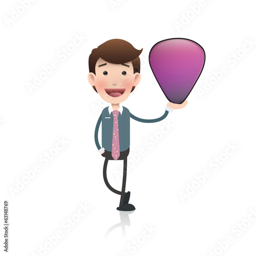 Businessman holding a plectrum