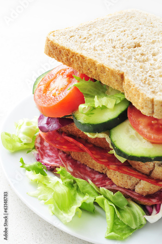 sandwich with vegetables and spanish chorizo and salchichon