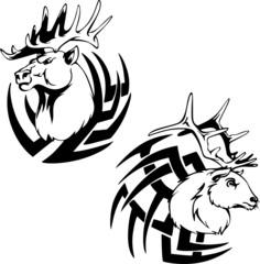 Predator deer head tattoos