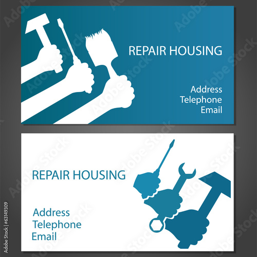 Design business card for home repair, vector