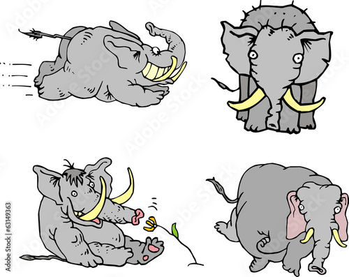 Comic elephant athletes