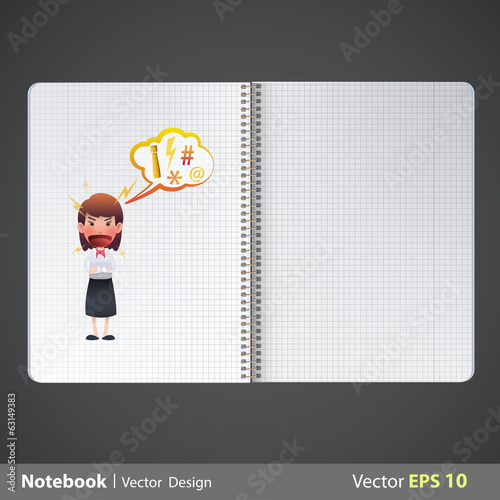 Businesswoman printed on realistic book. Vector design