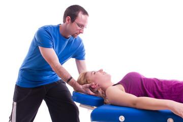 Nacken Physiotherapie im liegen
