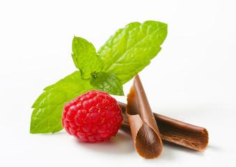 Chocolate curls and fresh raspberry