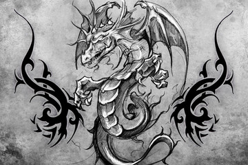 Medieval dragon Tattoo design over grey background. textured bac
