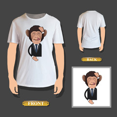 Business monkey printed over realistic shirt