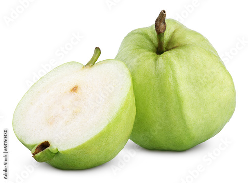 Green guava with half isolated on white with clipping path