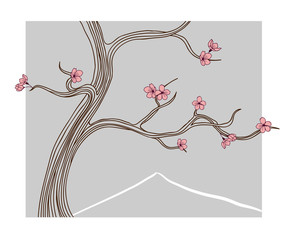 Vector illustration - blooming sakura tree