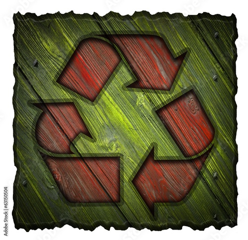 recycling symbol on a wooden shield isolated on white background