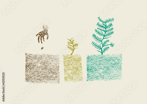Hand drawn tree growing process in three steps vector illustrati