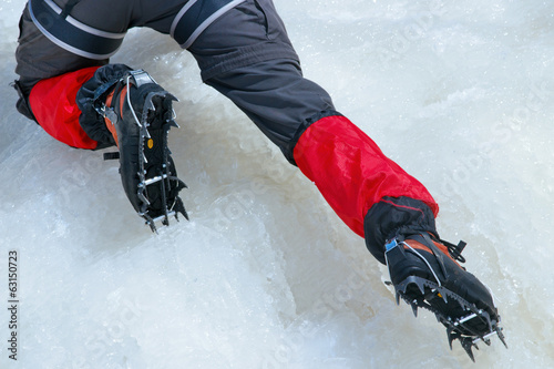 Close view of crampons used for ice climbing
