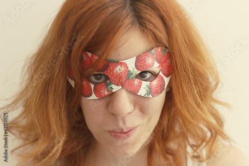 Superhero girl wearing mask with strawberries Poster