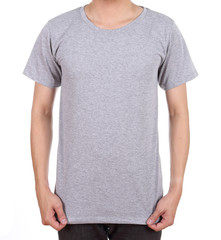 blank t-shirt on man