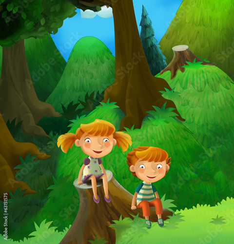 Fable stage - cartoon illustration for the children